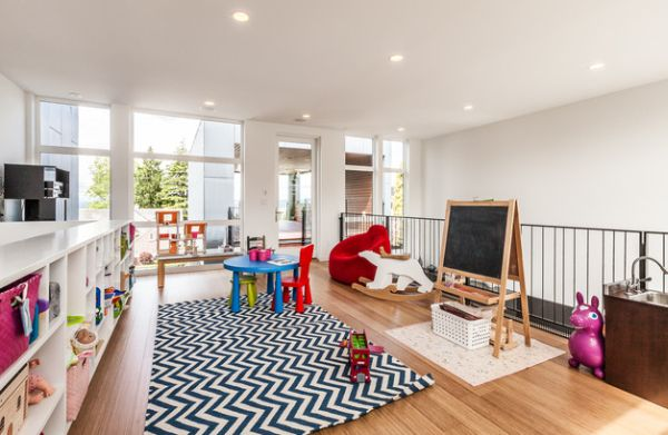 Ο ανοιχτός χώρος του playroom κάνει την επίβλεψη του γονέα παιχνίδι