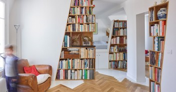 Paris flat with library walls