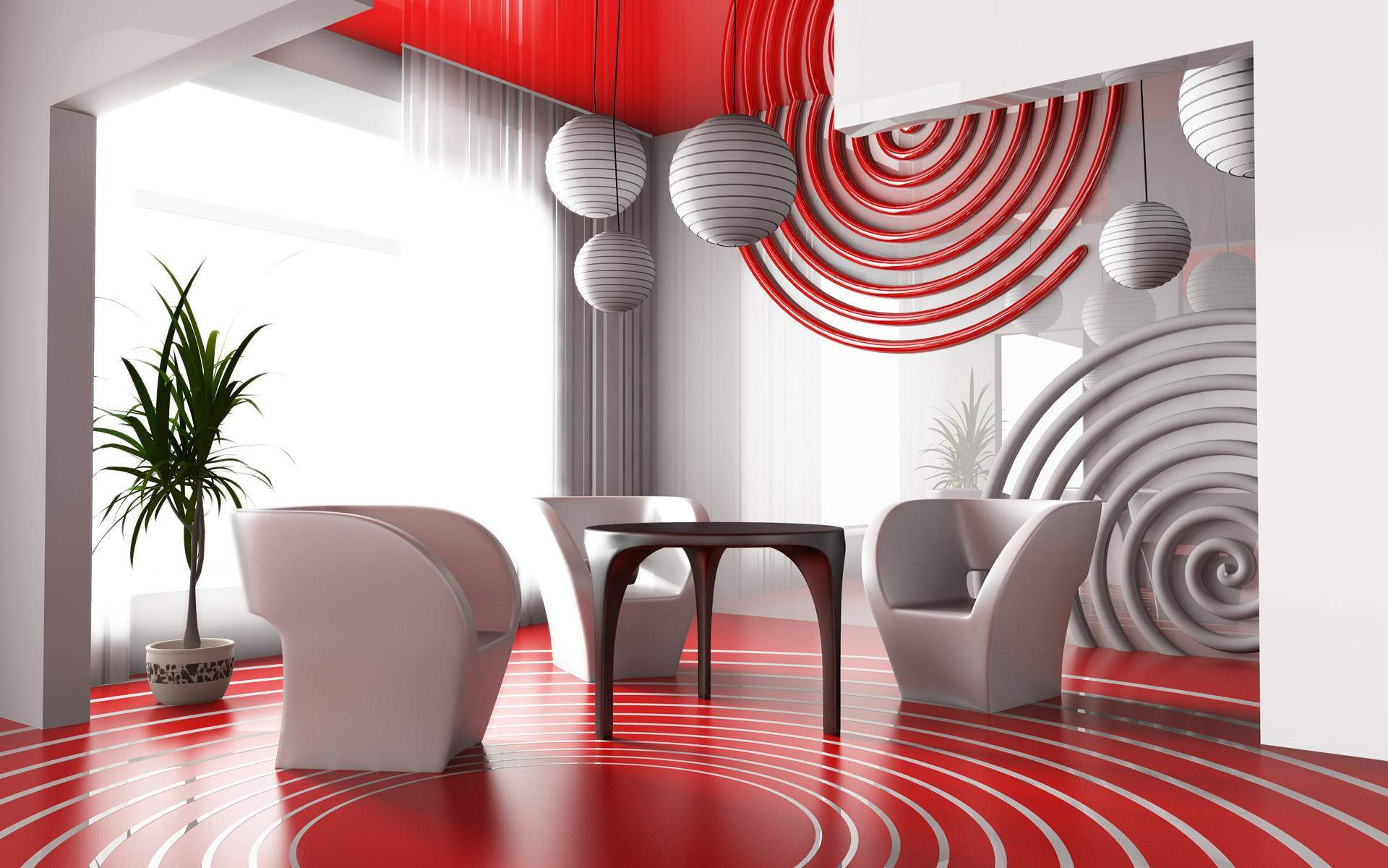 circularize-deep-red-living-room-design-with-architectural-meeting-table-and-plant-as-accessories