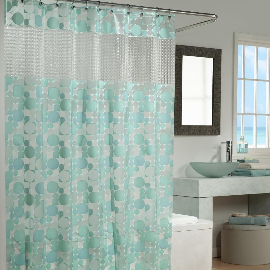 stylish-extra-long-shower-curtain-and-elegant-framed-bathroom-mirror-idea-also-glass-washbowl-design