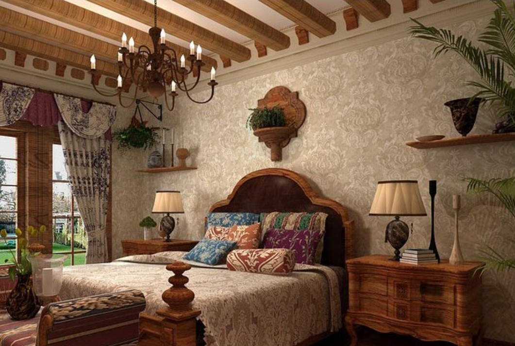Decoration-European-bedroom-with-Damascus-vintage-wallpaper