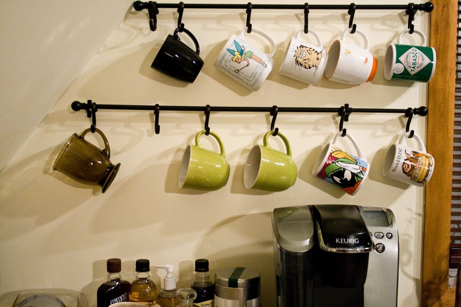 DIY Coffee Bar Hang Mugs With Shower Hooks_3