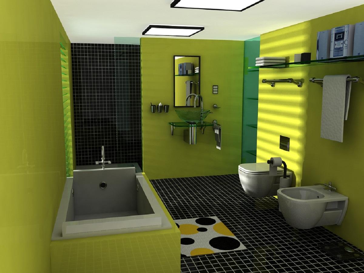 green-painted-bathroom-wall-black-ceramics-floor-decor-260951
