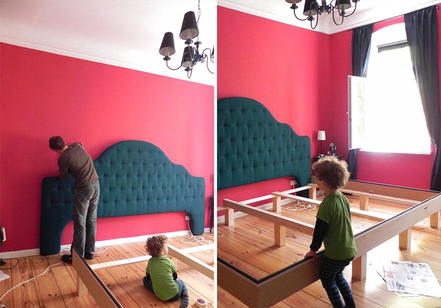 Αυτή η οικογένεια έφτιαξε ένα μεγάλο οικογενειακό κρεβάτι με 53 κουμπιά στο κεφαλάρι!