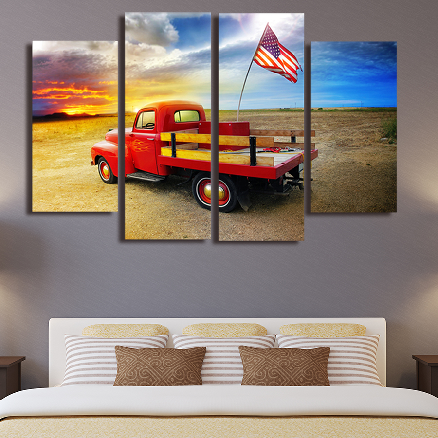 Unframed-The-American-flag-and-pickup-trucks-4-piece-Modern-Wall-Painting-Art-Picture-home-decor