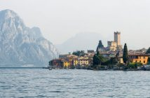 The old town is located at the shore of Lake Garda, seen